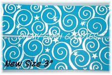 """3"""" Swirls Stars Turquoise Silver Foil Chevron Bling Grosgrain Ribbon Cheer"""