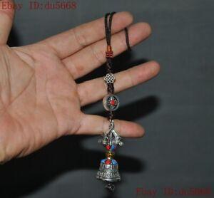 "8""Tibetan Buddhism Tibet silver Inlay gem Vajra Phurpa Bell chung amulet Pendant"