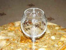 Krosno - Poland Sunflower Etched  Brandy / Snifter Glass  JJ Jenkind Crystal