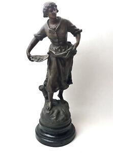 Antique Spelter Sculpture Pecheuse Par Geo Maxim Statue