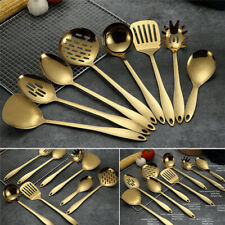 1Pc Gold Titanium Stainless Steel Spoon Shovel Cooking Cookware Kitchen Tools