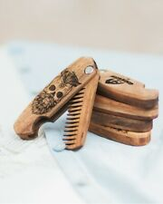 Folding Moustache Comb Beard Hand Made Grooming Pocket Anti-Static Natural MRG08