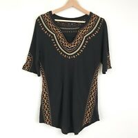 Lucky Brand Womens Embroidered Short Sleeve Top Size Medium