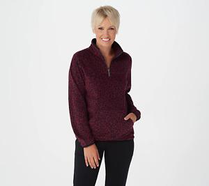 Susan Graver Weekend WINE & BLACK LEOPARD Print Fleece 1/4-Zip Pullover Top 2X
