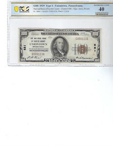 1929 $100 National Bank Note CH681 FR1804-1 Uniontown, Pa, PCGS 40 XF!!!