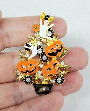 Halloween Christmas Tree BROOCH PIN PENDANT Rhinestone Enamel Spooky