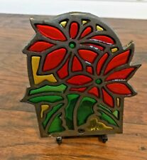 Cast Iron Stained Glass Candle Holder Poinsettia Christmas Mid Century Red