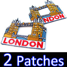 2 x London Tower Bridge ENGLAND UK Logo Embroidered Iron on Patch Souvenir