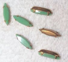 VINTAGE LIGHT JADE GREEN GLASS SKINNY MARQUISE JEWELS IN BRASS SETTINGS 12 PCS