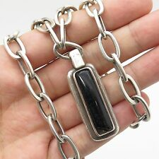 Vtg Barra 925 Sterling Silver Black Onyx Gemstone Pendant Chain Necklace 16""