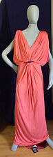 Tbag Los Angeles OrangeCoral Grecian Goddess Gray Sash SL Plunging Maxi  szM NWT