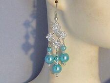Earrings - Aqua / Turquoise Glass Pearls with .925 Sterling Silver - chandeliers