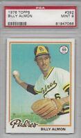 1978 Topps baseball card #392 Billy Almon, San Diego Padres PSA 9 MINT