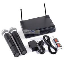 VHF Wireless Cordless Microphone System w/Dual Handheld Wireless Mic For Karaoke