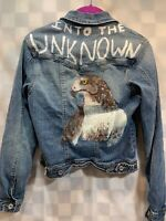 Custom Denim Blue Jean Jacket Girls Size M Into The Unknown Painted Eagle