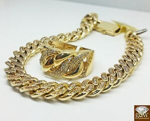10k Yellow Gold Miami Cuban Bracelet With Diamonds Along With Matching Ring