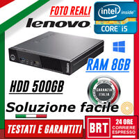 PC DESKTOP COMPUTER FISSO LENOVO M92P USFF CPU I5-3gen RAM 8GB 500GB HDD OTTIMO!