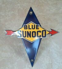 RARE VINTAGE BLUE SUNOCO GASOLINE PORCELAIN SIGN MINT!