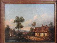 Josef PFEIFFER Très Belle Huile Toile Paysage TYROL AUTRICHE 1862