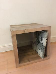 Vinyl Album Record Wooden Storage Cube Rustic Reclaimed Solid Wood Handmade