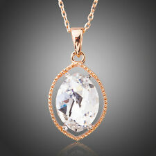 Big Oval Clear Austria Crystal Rose Gold Plated Chain Necklace Pendant Jewellery