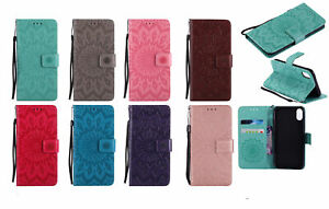 Embossed Sun Flower Flip Stand Card Wallet Leather Phone Case Cover For Samsung