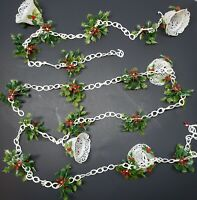 Vintage White Lattice Bell Chain Holly & Berries Plastic Christmas Tree Garland