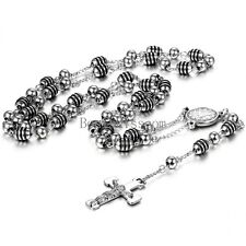 Link Bead Chain Silver Black Rosary Jesus Christ Crucifix Cross Chain Necklace