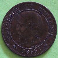 FRANCE 2 CENTIMES NAPOLEON III 1855 W  F.107