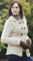 KNITTING PATTERN Ladies Coat Double Breasted Jacket Empire Line Cardigan Rowan