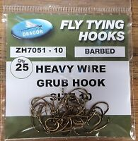 Dragon Heavy Wire Grub Hooks Various Sizes 25 Pack Fly Tying Hooks
