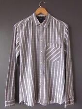 Paul Smith Camicia (M-Slim) Grigio a Righe Cotone a Manica Lunga S/Polsini OTTIMO USATO