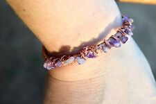 Genuine Amethyst Purple Cuff Bracelet Healing Energy Copper Natural Wire Wrapped