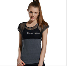 Women Sexy Net Yarn Sports Fitness Short Sleeve Stitch Round Neck T-shirt