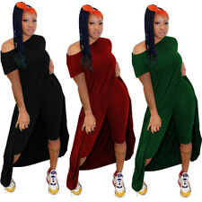 Women Solid Color Sloping Shoulder Short Sleeves Casual Clubwear Jumpsuit 2pcs