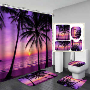 Beach Palm Tree Shower Curtain Bath Mat Toilet Cover Rug Sea Bathroom Decor