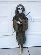 Life Size 5 Ft. Grim Reaper Skeleton With Scythe Halloween Haunted House Prop