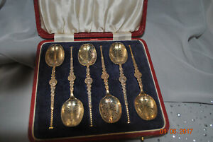 Birmingham England Boxed set (6) sterling silver tea spoons