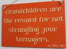 Strangle Teenagers - Kids Grandchildren Family Rustic Wooden Country Shabby Sign
