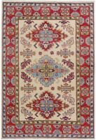 Geometric Oriental Super Kazak IVORY Area Rug Hand-Made Vegetable Dye Carpet 4x6