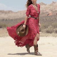 Women Boho Casual Summer Short Sleeve Chiffon Floral Party Beach Long Maxi Dress