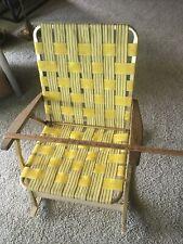 Vintage 1960's Folding Aluminum Lawn Chair Rocker Yellow Webbed Rocking Chair