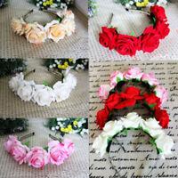Rose Floral Flower Garland Crown Headband Wedding HairBand Bridal Valentin MF