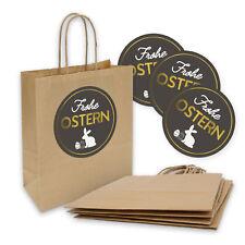 5x Geschenktüte Ostertüte Geschenktasche Kordel 18x8x22cm + Sticker Frohe Ostern