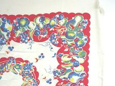 Vintage 50s Cotton Tablecloth FRUIT Novelty Border Print Red Large Mid Century
