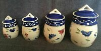 TABLETOPS GALLERY FLORAL DOTS HAND PAINTED AIR TIGHT CERAMIC CANISTER SET