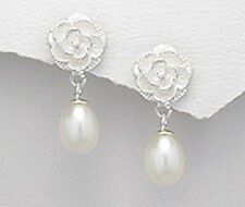 28mm Solid Sterling Silver Freshwater Pearl Rose Flower Dangle Earrings 5.6g