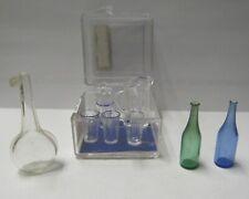 NEW Dollhouse Miniature Chrysnbon Pitcher with 4 Glasses & 3 Blown Glass Bottles