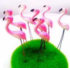 5 Terrarium Pink Flamingo Stake Miniature Dollhouse Fairy Garden accessories