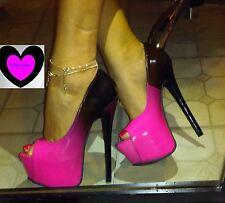 💜 PAPER FOX 💜 6.5 Ombre Hot Neon Pink Stiletto Heels UV REACTIVE Club Stripper